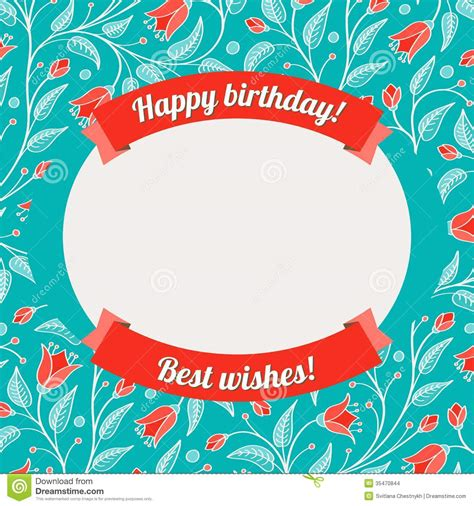 happy birthday card template with photo template for greeting card or invitation stock vector
