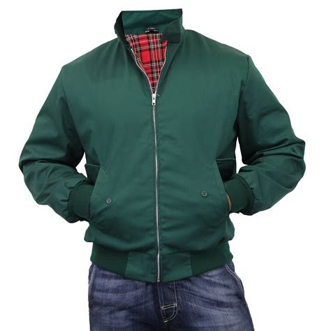 Jaket Bomber Mens Simple Pria Casual mens harrington jacket coat retro vintage bomber tartan