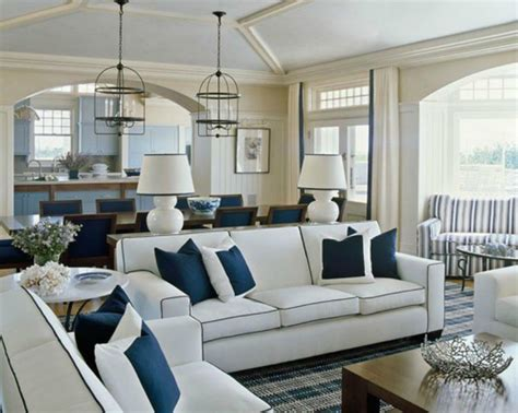 blue and white living room inspirations on the horizon coastal rooms with nautical
