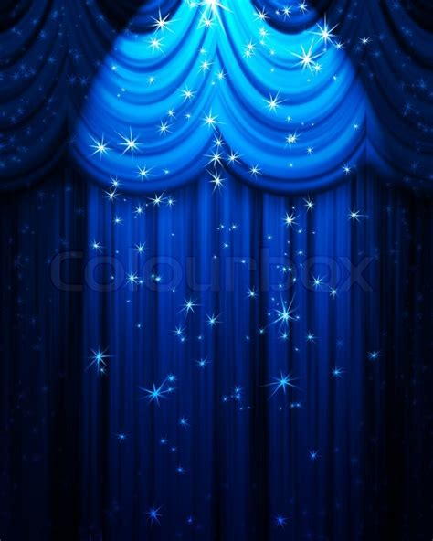 Movie Theatre Home Decor Blue Theatre Curtain With Spotlight And Stars Stock