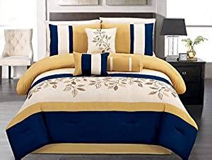 yellow and blue comforter set com 7 pieces luxury navy blue yellow off white