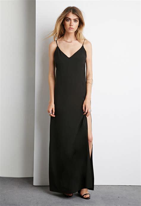dress with black sides forever 21 side slit maxi dress in black lyst