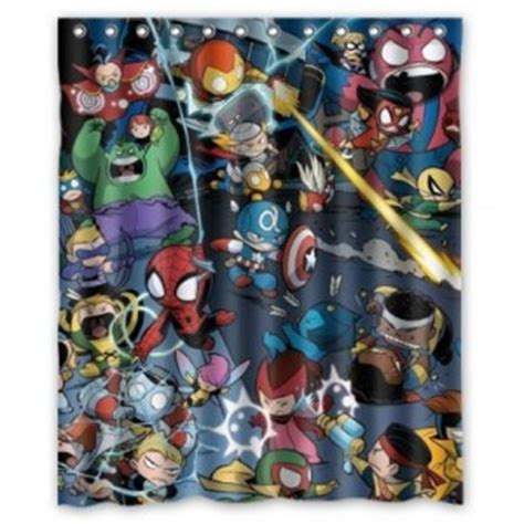 justice league bathroom decor the avengers shower curtain superhero collection