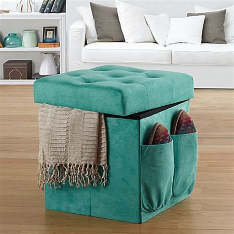 anthology sit store folding ottoman in tufted aqua