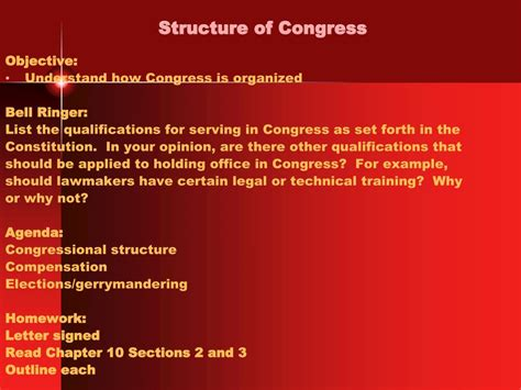 chapter 10 section 4 the members of congress ppt structure of congress powerpoint presentation id