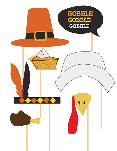items similar to thanksgiving photo booth props celebration props printable diy print your
