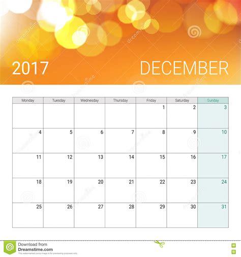 Calendã Outubro December 2017 Calendar Stock Vector Image Of Calender