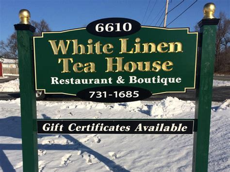 White Linen Tea House by Rosewood Signs Screen Printing Vinyl Graphics In