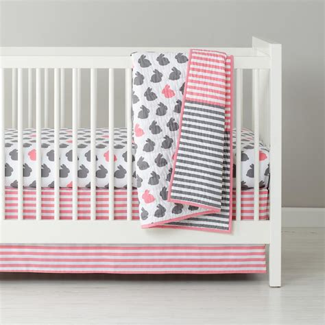 Bunny Crib Bedding I Finally Found Our Crib Bedding Pink And Gray Bunny Theme The Bump