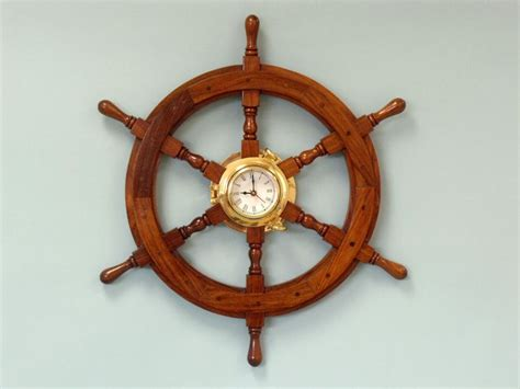 buy deluxe class wood and brass ship wheel clock 24 inch