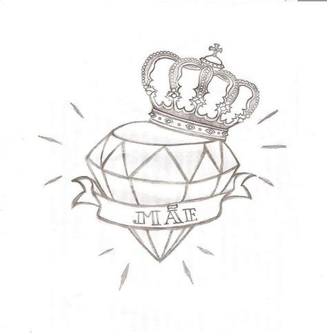 diamond with wings tattoo designs crown drawing and designs