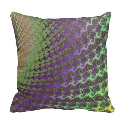 Purple And Green Pillows green and purple abstract fractal throw pillow