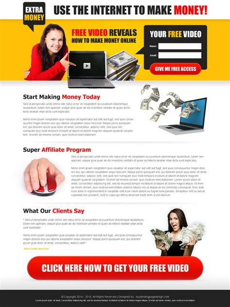 Make Money Online Leads - lead magnet landing page design templates for your marketing