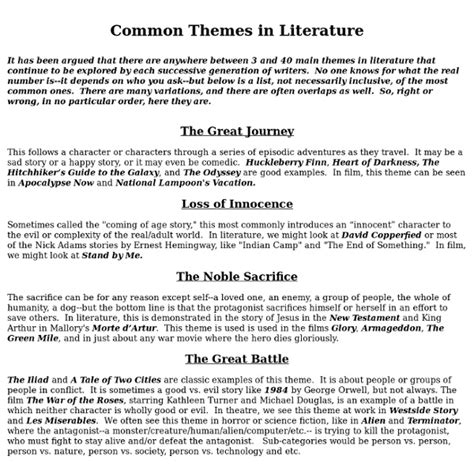 themes for literature common themes in literture pearltrees