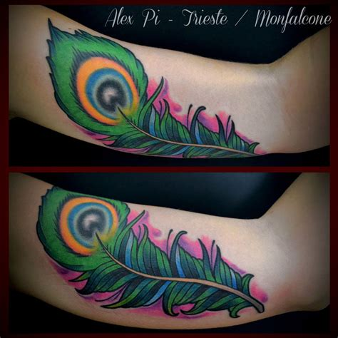traditional peacock tattoo neo traditional peacock feather on inner bicep
