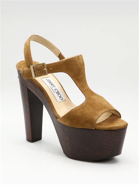 platform clog sandals jimmy choo ulla suede t platform clog sandals in