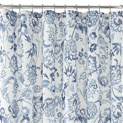 blue floral shower curtain blue bath decor by color