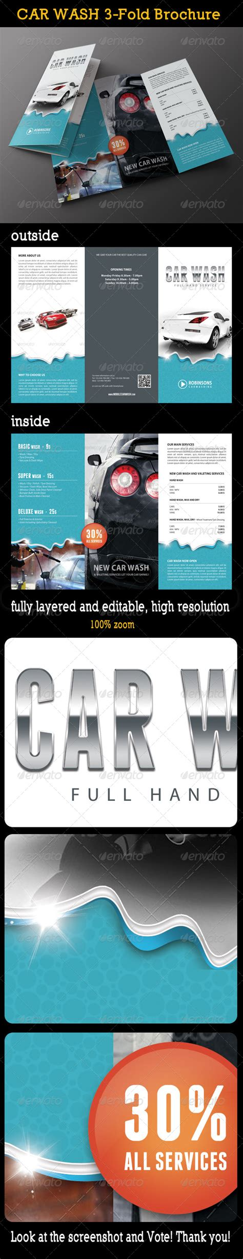Car Wash 3 Fold Brochure 02 By Rapidgraf Graphicriver Franchise Brochure Templates
