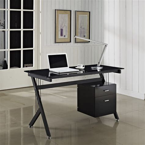 Black Glass Computer Desks For Home Black Glass Computer Desk Pc Table Home Office Minimalist Desk Design Ideas
