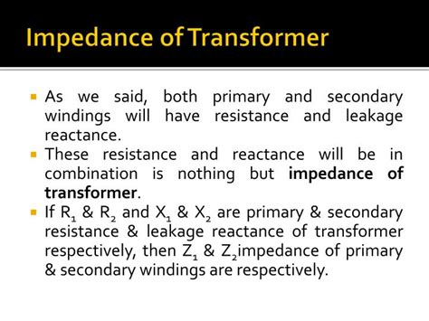 transformer impedance and circuit current ppt hysteresis eddy current losses leakage reactance