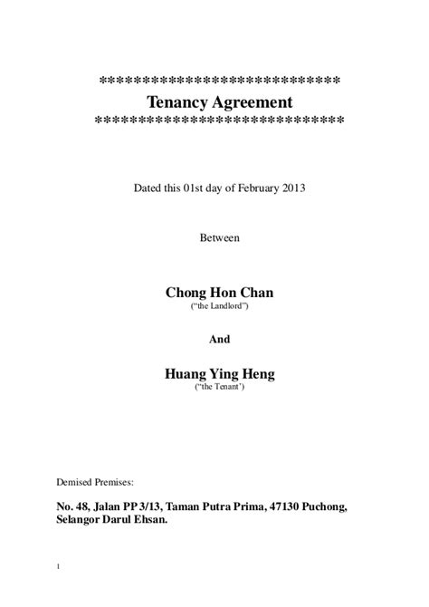 Sle Of Tenancy Agreement Letter In Malaysia Amended Tenancy Agreement 2013