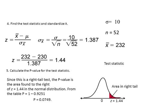 calculator z test statistic section 7 2 hypothesis testing for the mean n 30 ppt