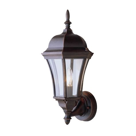 Outdoor Light Lowes Shop Portfolio 17 In H Rust Outdoor Wall Light At Lowes
