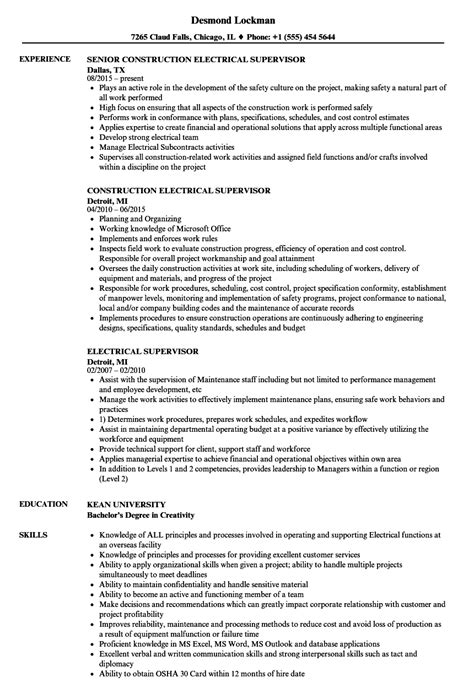 electrical supervisor resume sles velvet