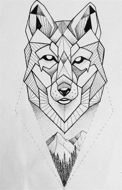 simple dotwork geometric wolf with mountains view tattoo