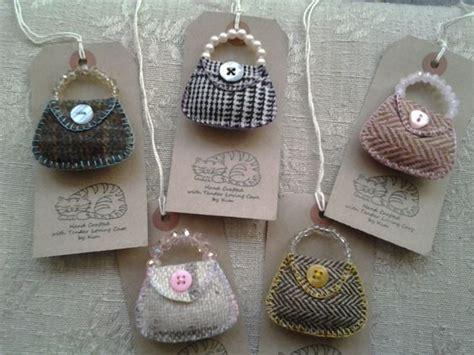 Handmade Brooches Uk - handmade tweed handbag brooch with bead handle