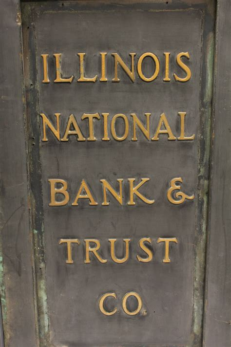 national bank of trust antique brass sign quot illinois national bank and trust co