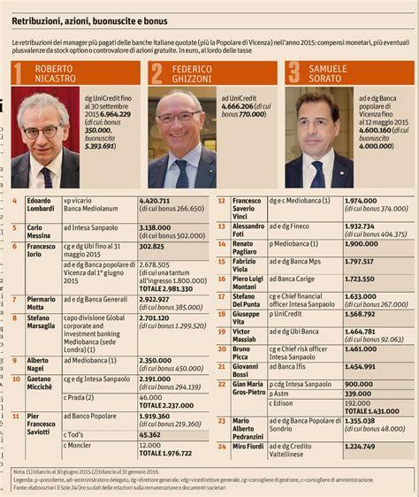 stipendio in stipendi in crescita per i banchieri italiani i primi in
