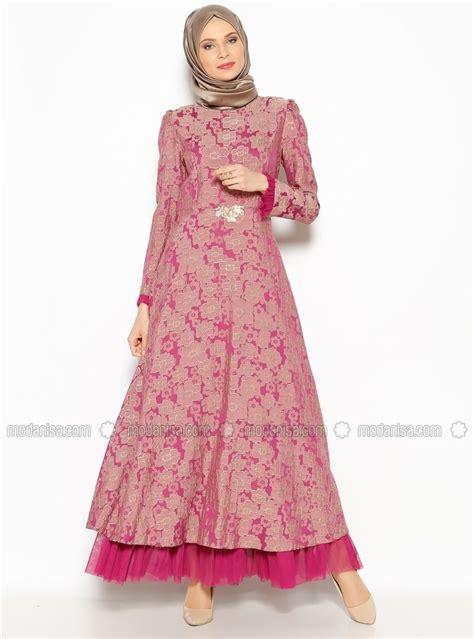 pattern dress muslimah patterned evening dress fuchsia burun muslimah