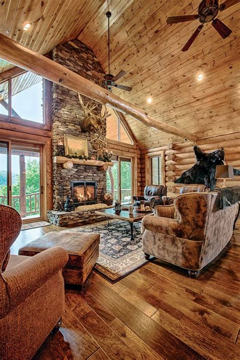 Beautiful Log Home Interiors A Mountain Log Home In New Hshire Golden Eagle Wood Flooring And Logs