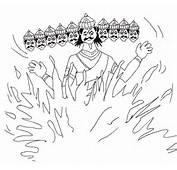 Dussehra Coloring Pages Of Dummy Ravan Burning On Vijay Dashmi
