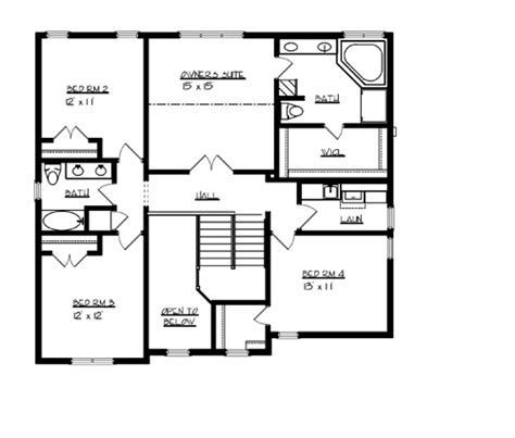 upper floor plan the williamsburg 1707 4 bedrooms and 2 baths the house