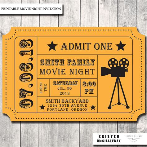 movie night party invitation admission ticket ticket
