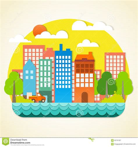 Papercraft Town - city origami stock vector image 60791307