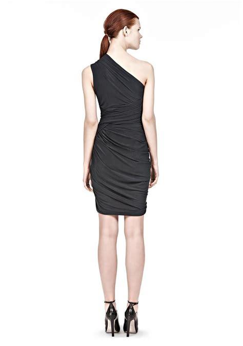 draped shoulder dress asymmetric one shoulder draped dress short dress