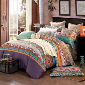 Moroccan Duvet Set Turquoise Orange And Brown Colorful Stripe And Bohemian