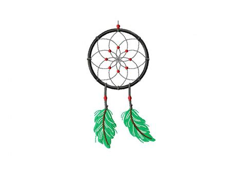 Dreamcatcher Embroidery Design | green feather dream catcher machine embroidery design