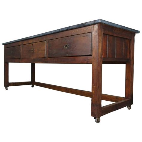 zinc top table sideboard or kitchen island on casters for