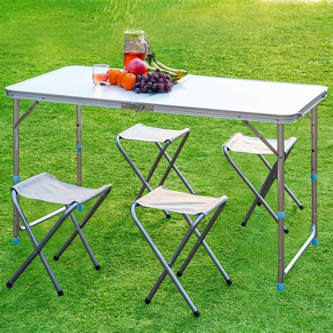 Adjustable Height Outdoor Dining Table Finether Folding Outdoor Table Stool Set Ultralight Height Adjustable Aluminum Portable Table