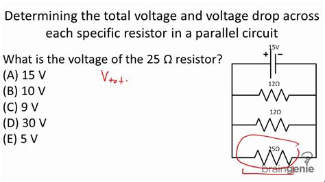 voltage drop across each resistor physics 6 2 5 1 determining the total voltage and voltage drop across resistor in parallel