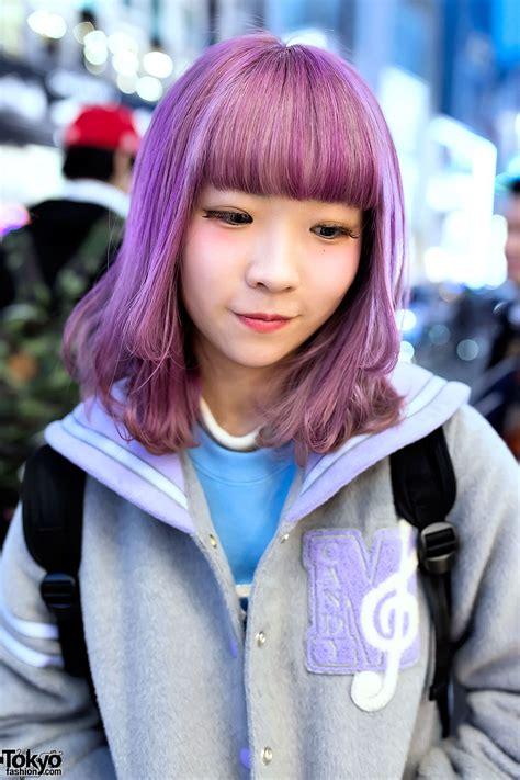 old japanese ladies purple hair pastel purple hair pastel sailor collar varsity jacket