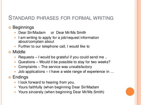 Official Letter Useful Phrases Formal Emails And Letters