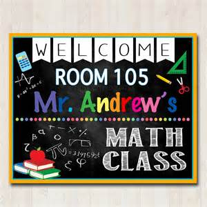 Classroom Door Signs Templates by Math Classroom Door Sign Printable Classroom Sign