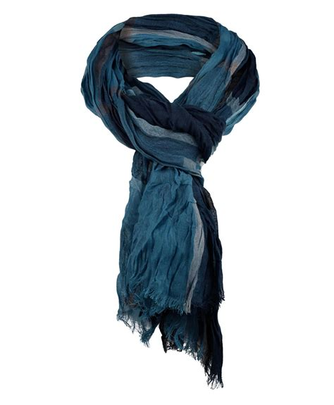 mens lightweight tartan print scarf crinkled wrap