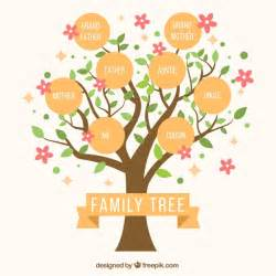 decorative family tree template family tree with decorative pink flowers vector