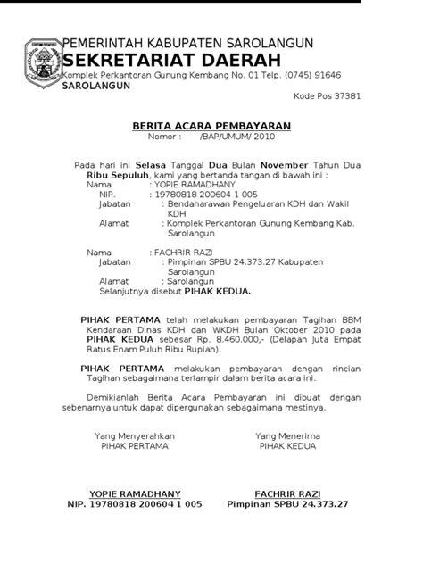 format berita acara pembatalan transaksi berita acara pembayaran 2